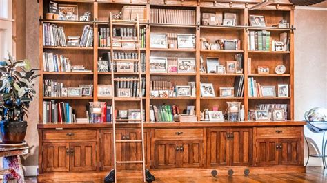 Craftsman Style Built In Bookcases by Oak Craftsman Style Built In Bookcases With Library Ladder