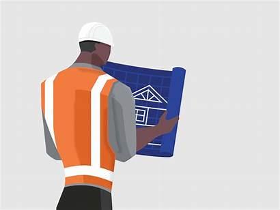 Architect Blueprint Vector Animated Dribbble Construction Animation