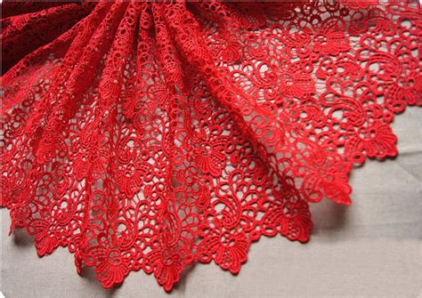 Red Lace Fabrics Crocheted Gown Fabric Hollowed Out