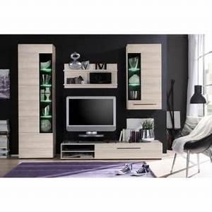 Meuble Tv Avec Etagere : skin meuble tv mural avec led 250cm d cor chene naturel meuble tagere murale vitrine ~ Teatrodelosmanantiales.com Idées de Décoration