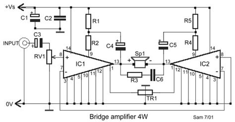 bridge amplifier  lm circuit schematic