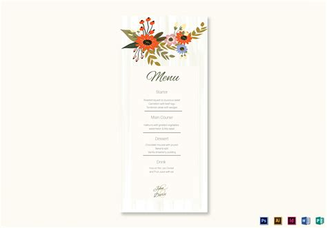 summer floral wedding menu card design template