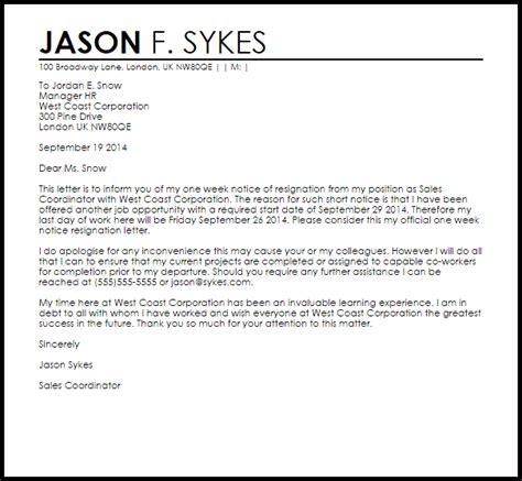 week notice resignation letter  letter