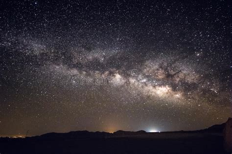 Milky Way Galaxy And Stars Above Negev Desert Israel Stock