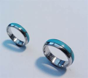 Handmade Two Platinum Wedding Bands Inlaid With Turquoise