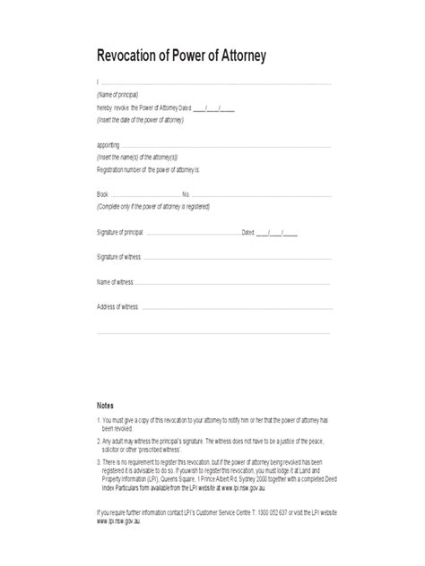 exle of power of attorney form revocation of power of attorney form 17 free templates