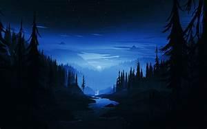 Download, 1920x1200, Wallpaper, Dark, Night, River, Forest, Minimal, Art, Widescreen, 16, 10