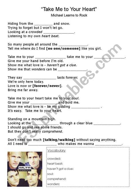english worksheets song     heart