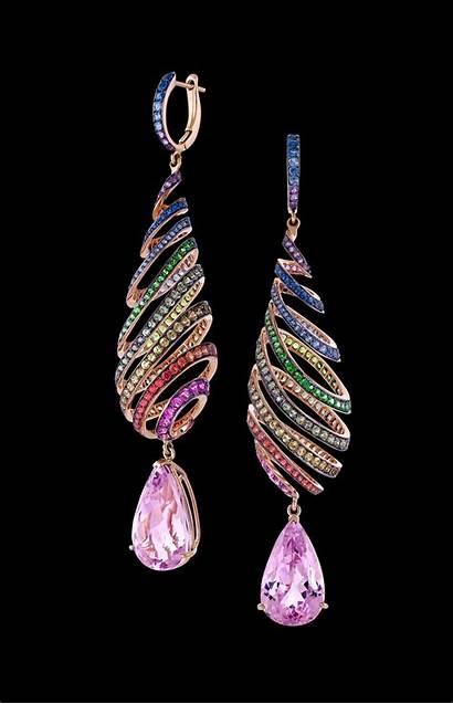 Spiral Kunzite Earrings Rainbow
