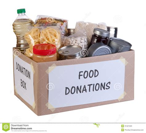 cuisine stock food donations box stock photo image 31427220