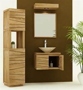 achat vente meuble de salle de bain teck a suspendre With petit meuble salle de bain teck