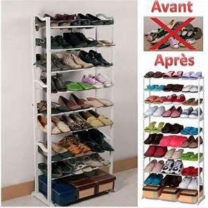 Etagère Et Casier à Chaussures : meuble de rangement chaussures 4 etagere chaussure 30 ~ Dallasstarsshop.com Idées de Décoration