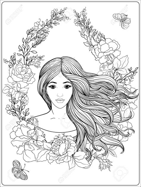 long hair coloring pages print coloring