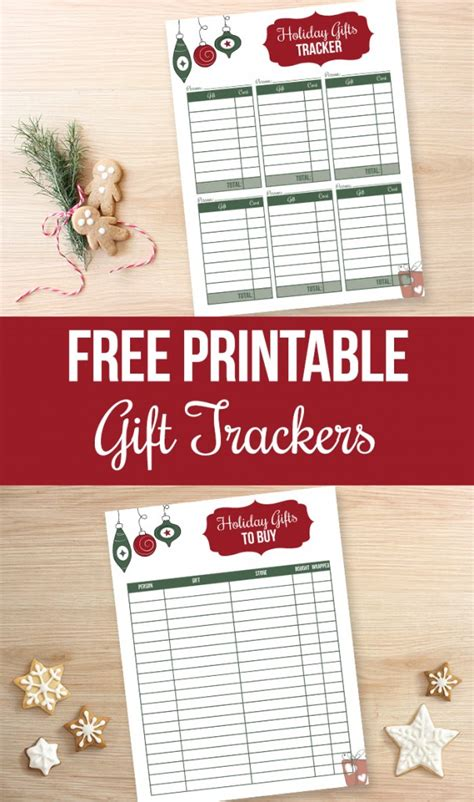 gift tracker printables  heart planners