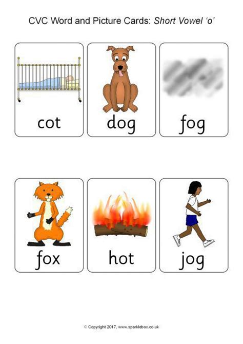 cvc word  picture cards short vowel  sb