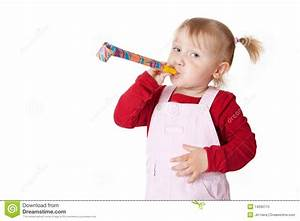 Little Girl With Party Blower Royalty Free Stock Photo ...