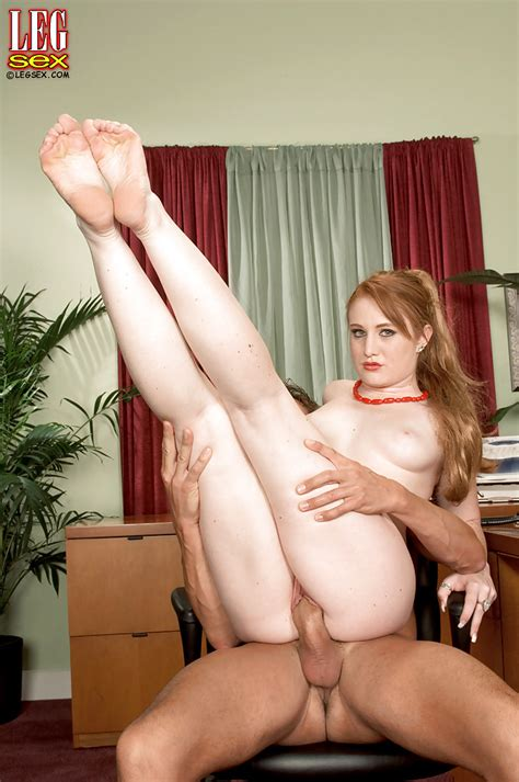 Leggy Redhead Secretary Lucy Fire And Her Boss Play Footy