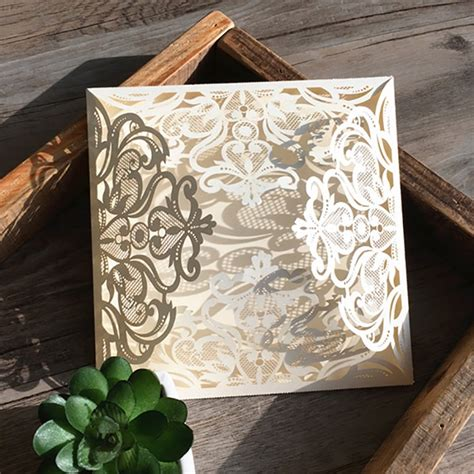 1 Package Ivory Custom Made elegant Square Laser Cut