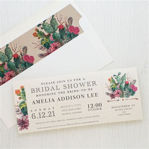 Wedding Shower Invite - desert blooms customizable bridal shower invites beacon