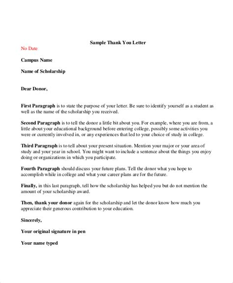 sample donor thank you letter sample thank you letter for scholarship 7 examples in