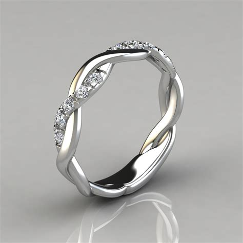 0 15ct twist round cut wedding band ring forever moissanite