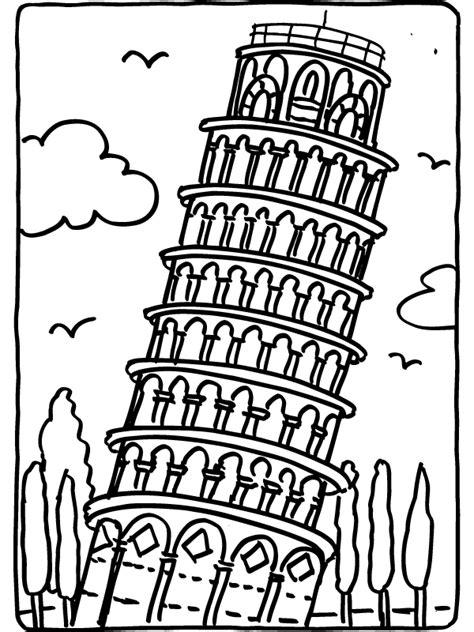 toren van pisa tekening kleurplaat toren van pisa itali 235 kleurplaten nl