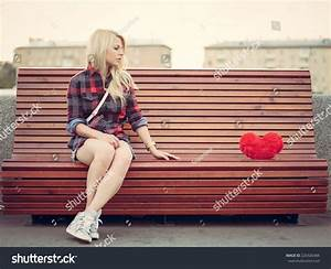 Sad Lonely Girl Sitting On Bench Stock Photo 220326484 ...