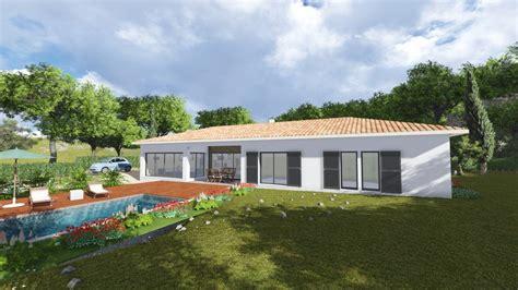 plan maison 3 chambres plain pied garage villa contemporaine 170m2 plain pied modèle glycine