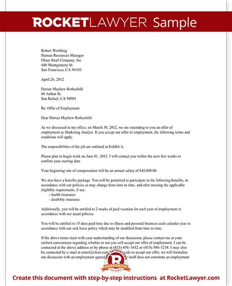 Offer Of Employment Letter Template Free by Offer Letter Employment Offer Letter Template With
