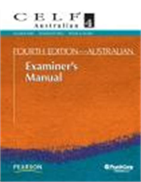 celf preschool age range clinical evaluation of language f 469 | 253625760CELF4 ExaminersMan AU 2010 web 160x136