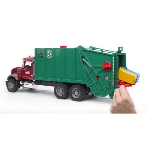 bruder garbage bruder mack granite green red toy garbage truck