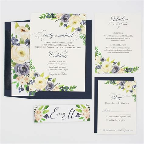 navy  white blooms claire wedding invitation suite