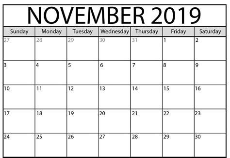 editable november  calendar word printable blank template