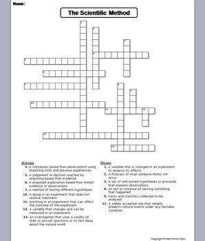 scientific method worksheet crossword puzzle  science