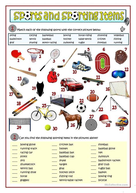 Sports And Sporting Items Worksheet  Free Esl Printable Worksheets Made By Teachers