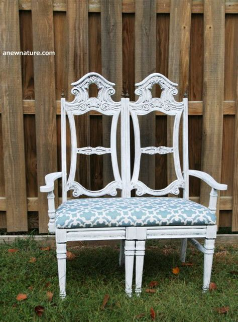 shabby chic furniture st louis shabby chic bench seat made from two old dining chairs upcycle by anew nature st louis based