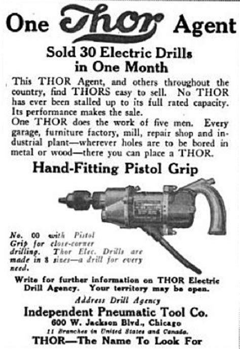 """Thor Power Tool Co. - 1920 ad - """"Thor"""" electric drill from"""