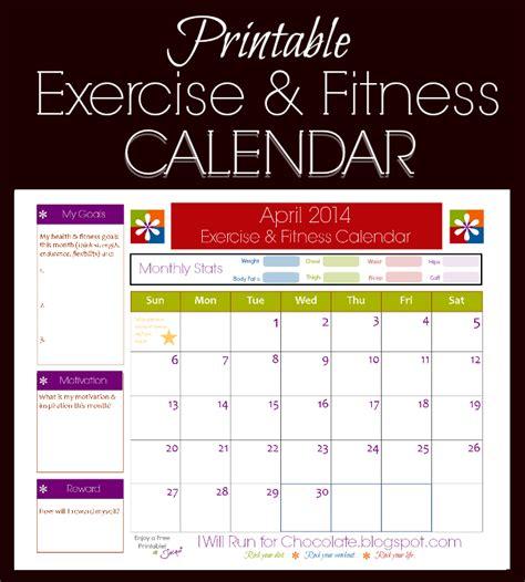 printable calendar track workouts health