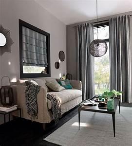deco salon le gris nous fait de l39oeil cote maison With attractive mur couleur lin et gris 6 idee rellooker maison