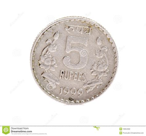 Indian Five Rupees Coin Stock Photo Image Of Rupees