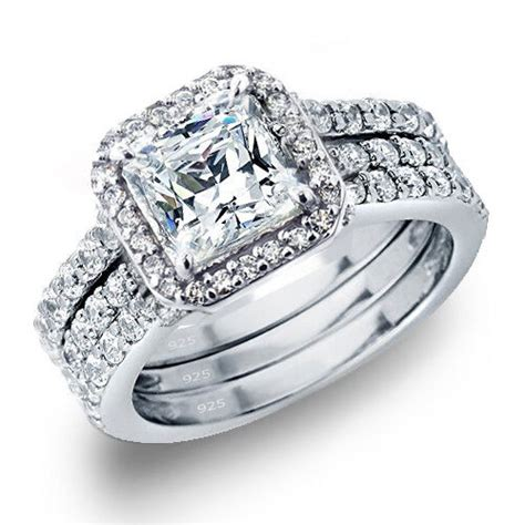 Wedding Rings by S 3 28 Ctw Princess Cut 925 Sterling Silver Cz