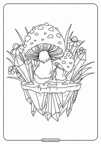Coloring Adult Mushrooms Printable Pages Coloringoo Books