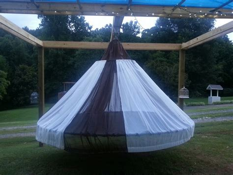 diy hanging outdoor bed swing bed made from recycled troline the owner