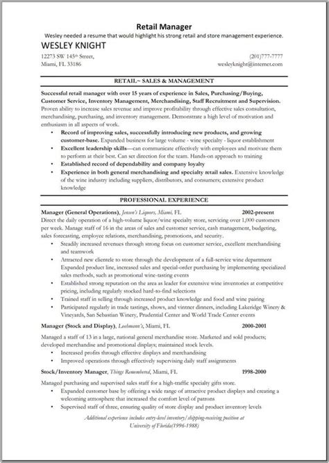 retail sales manager resume retail manager resume