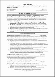 Resume Template For Retail Job Retail Sales Manager Resume Retail Manager Resume