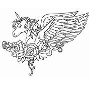 Winged Unicorn With Flowers Coloring Page  Free Printable