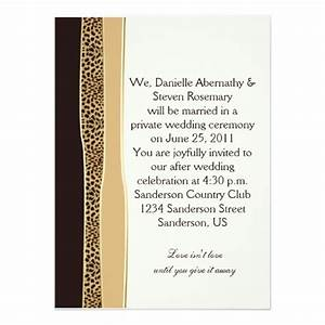 leopard print post wedding invitation zazzle With free printable post wedding invitations