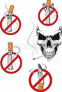 No Smoking Sign With Cartoon Cigarette And Danger Skull
