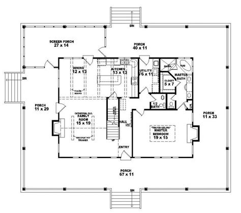 654063 one and a half story 3 bedroom 2 5 bath country style house plan house plans floor