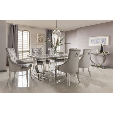 arianna marble dining table set  grey dining room
